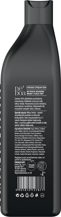 MEN - STRONG STREAM 3IN1 naturalny szampon dla mężczyzn, wszystkie rodzaje włosów i skóry